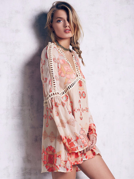 Boho Peach Silk Gypsy Sleeves Mini Dress
