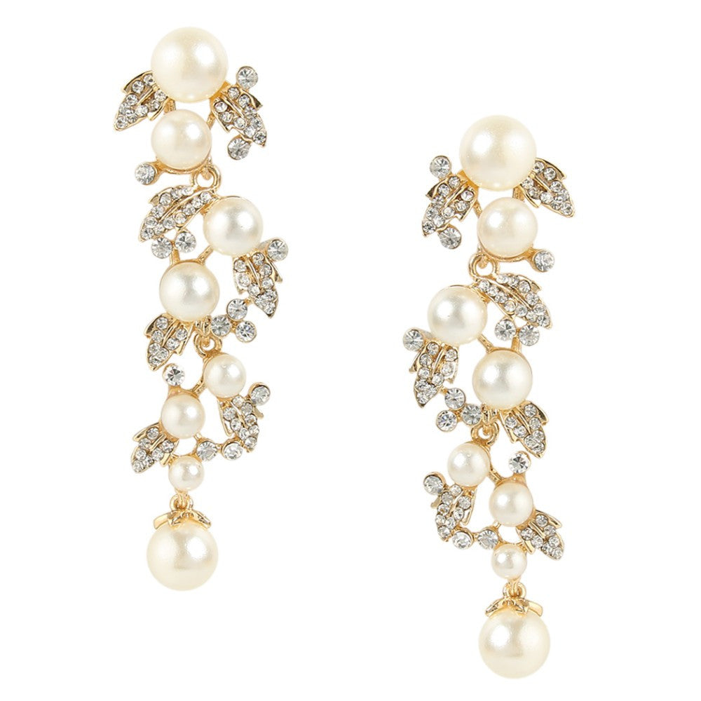 Pearls and Vines Bridal Earrings - Gold