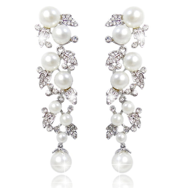 Pearls and Vines Bridal Earrings - Silver