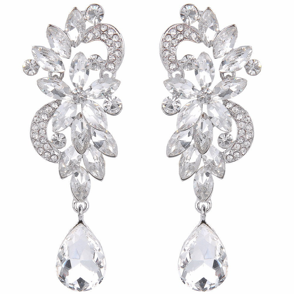 Exquisite Oversized CZ Floral Bridal Earrings