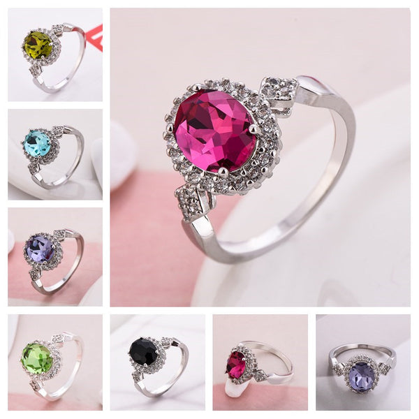 Oval CZ Stack-able Ring Available in 6 Colors