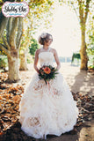 Shabby Chic Corset & Roses Wedding  Gown