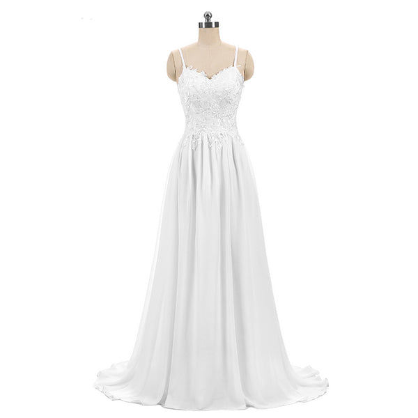 The Cory - Thick Lace & Chiffon A-Line Beach/Destination Wedding Dress :: On Sale $100 off w/ Free US Shipping!!