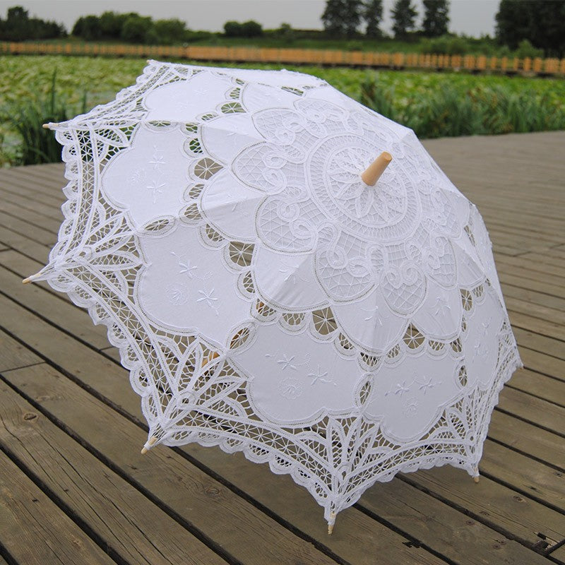 Cotton Embroidered Bridal Umbrella in White or Ivory