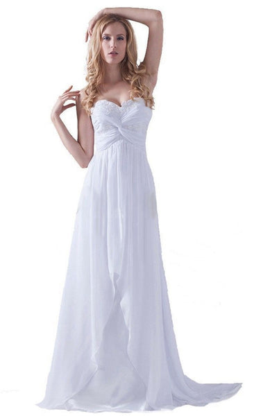 The Chrissy - Boho Strapless sweetheart Chiffon & Satin Beach/Destination Wedding Dress