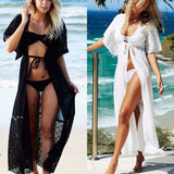 Boho Crochet Lace Long Beach Cover Up