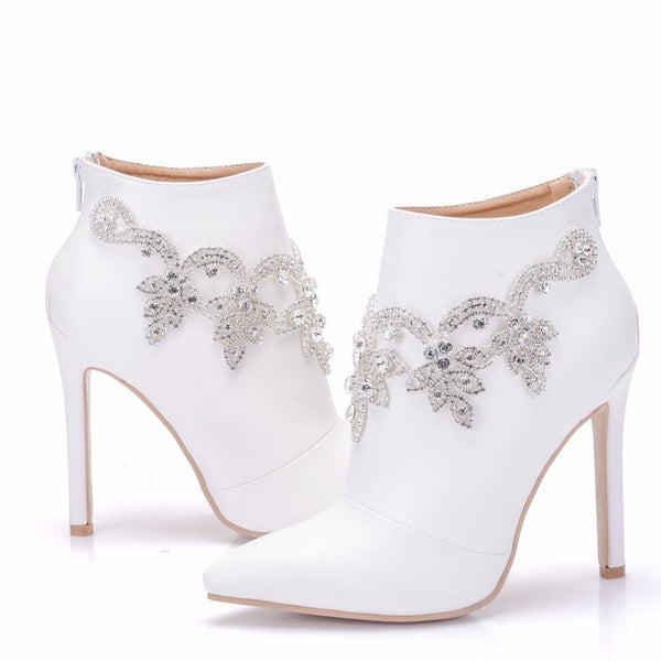 Crystal Ankle Bridal Boots