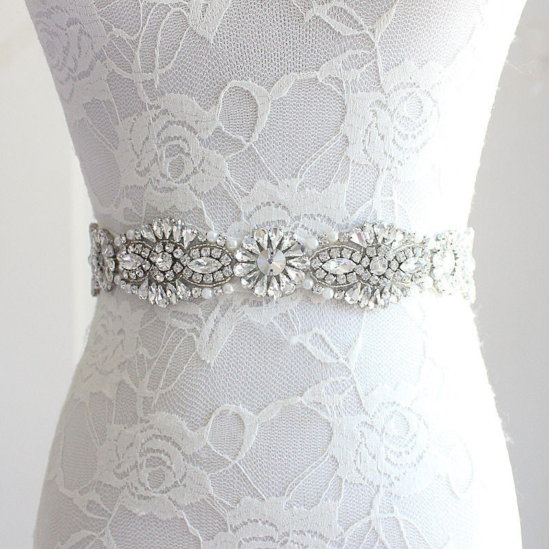 Crystal Daisy Design Bridal Belt– Available in 12 Colors