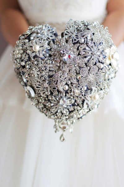 Crystal Heart Broach Wedding Bouquet
