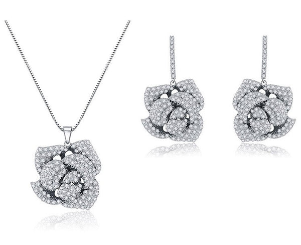 Crystal Rose Drop Bridal Earrings & Necklace Set