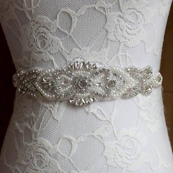 Crystal & Pearls Bridal Belt– Available in 12 Colors