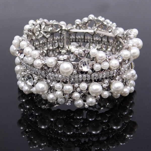 Crystals and Pearls Bridal Bracelet