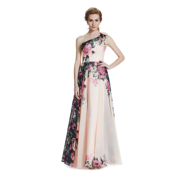 The Cynthia – Chiffon Floral Pattern Evening Gown