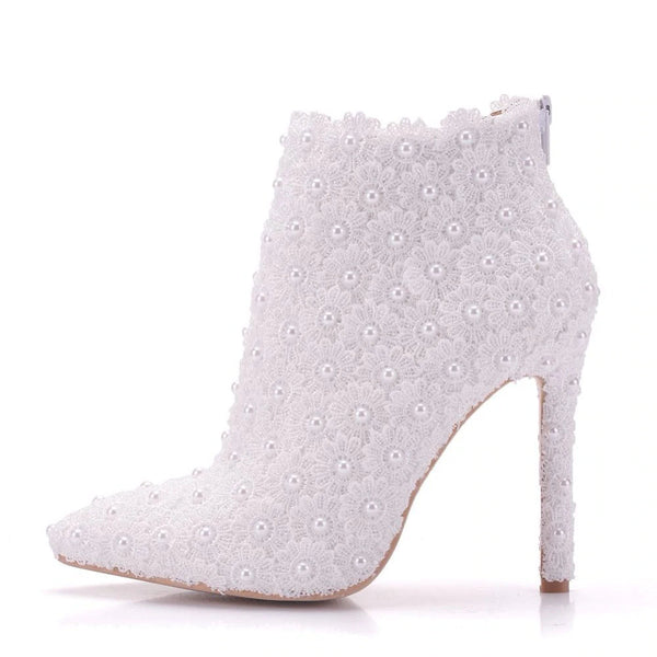 Daisy Lace & Pearls Bridal Boots