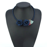 Handmade Boho Navy Blue Silk Rose Floral Necklace