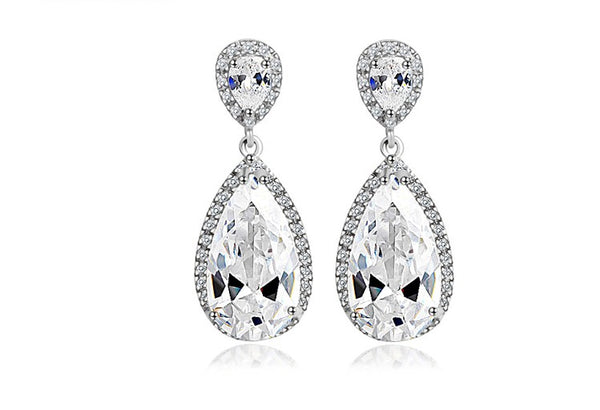 Double Tear Drop CZ White Gold Filled Bridal Earrings