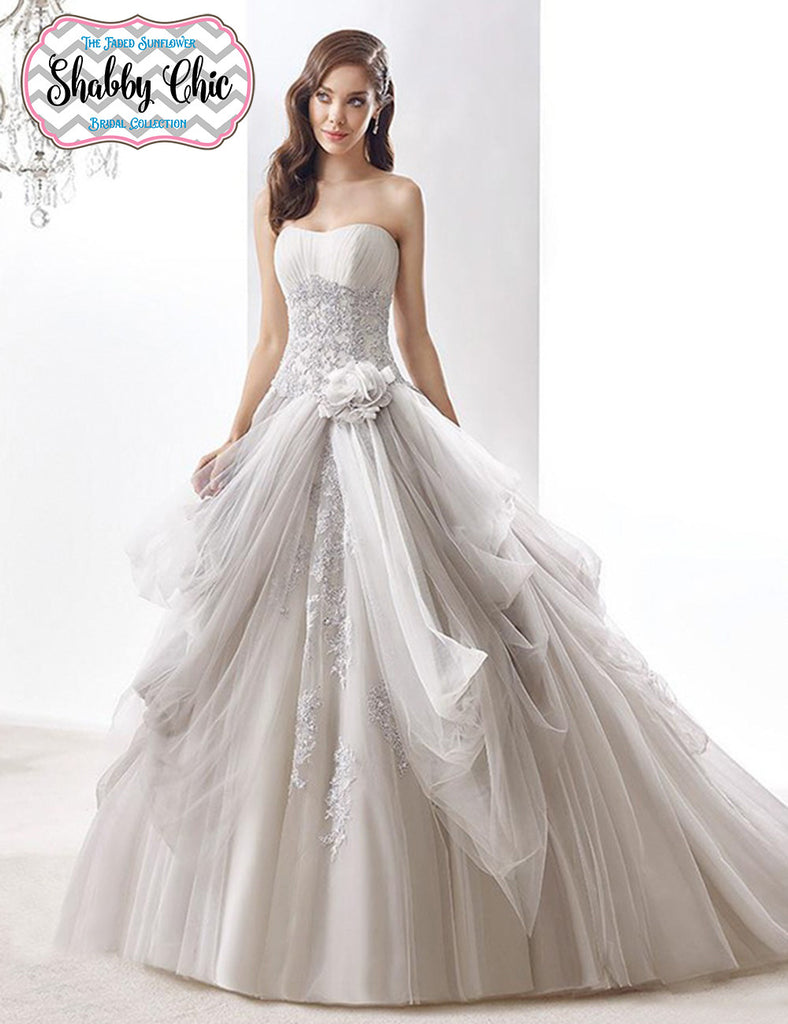 Cinderella roses shabby chic romantic wedding gown avail for Wedding dresses with roses on them