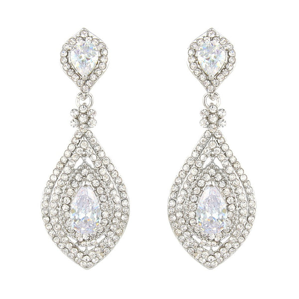 Elegant CZ Tear Drop  Bridal Earrings