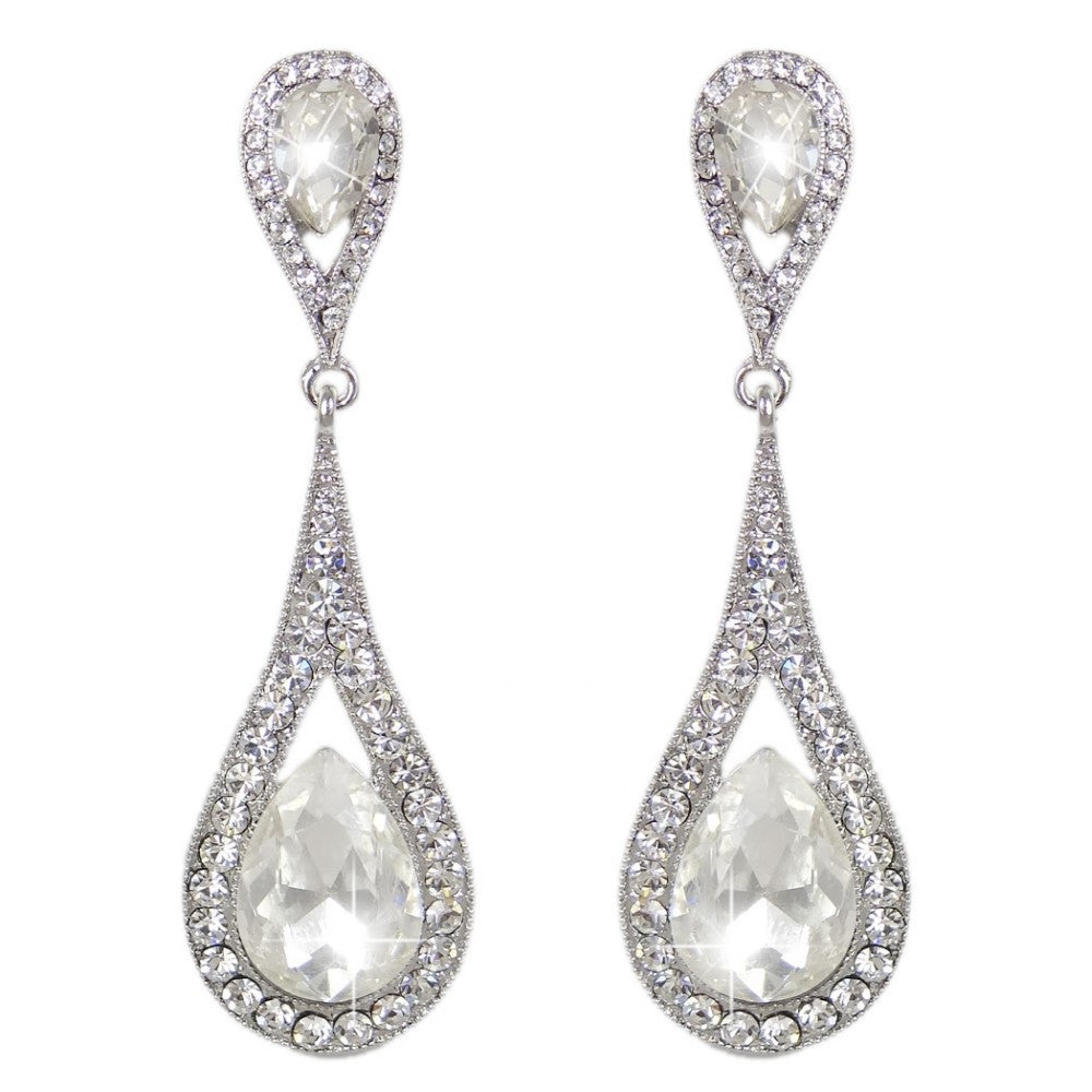Elongated Tear Drop CZ Bridal Earrings
