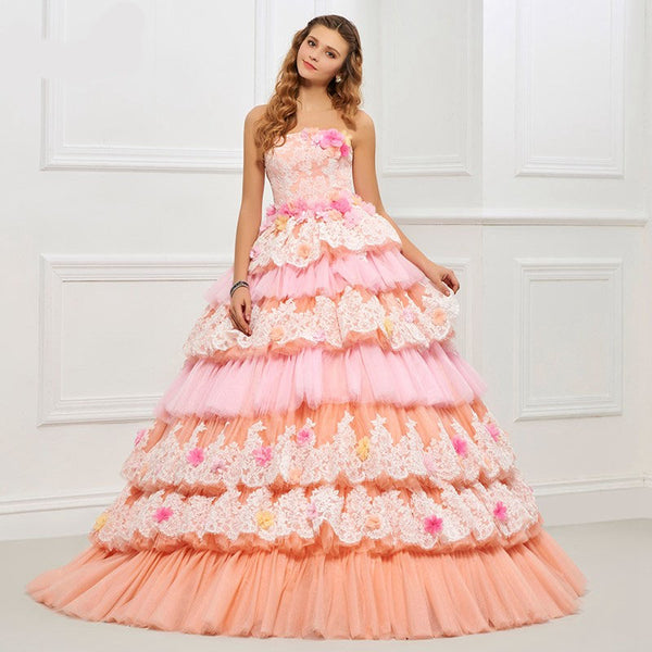 The Emily :: Multi Tiered Floral & Lace Exclusive Design – 3D Embroidered Quinceanera Ball Gown - Available up to size 26W