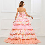 86ad58e55e ... The Emily    Multi Tiered Floral   Lace Exclusive Design – 3D  Embroidered Quinceanera Ball ...