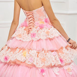 572a01b2be ... The Emily    Multi Tiered Floral   Lace Exclusive Design – 3D  Embroidered Quinceanera Ball
