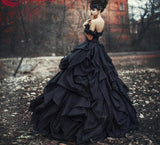 The Enola Black Layered Ball Gown Style Wedding Dress :: Available in Sizes up to 26W