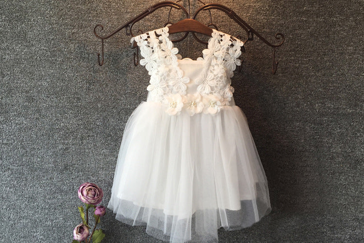 Boho Floral Lace and Tulle Flower Girl Dress