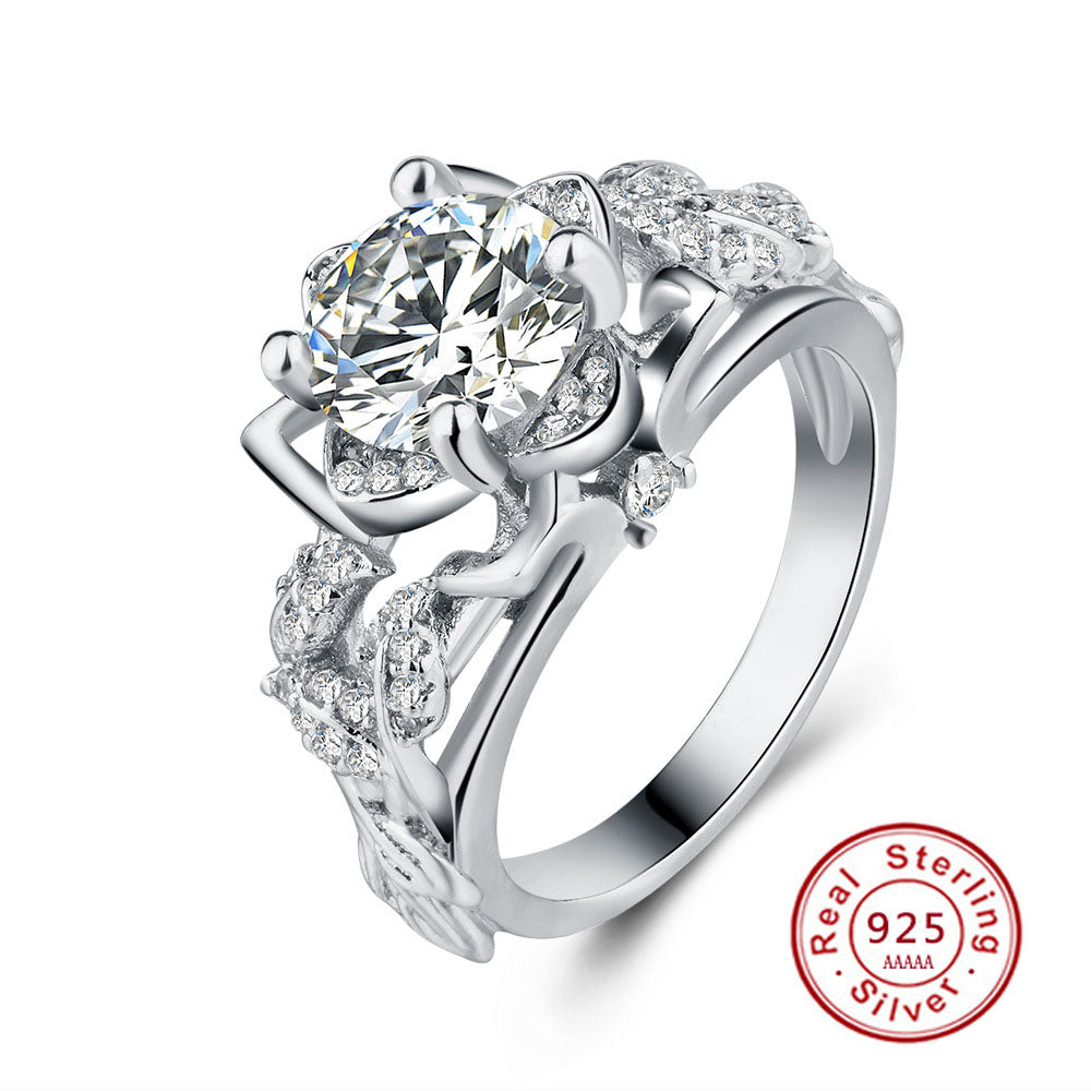 CZ Floral Solitaire Sterling Silver Engagement Ring