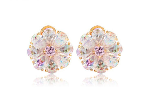 Rainbow Zircon Flower  Bridal Earrings