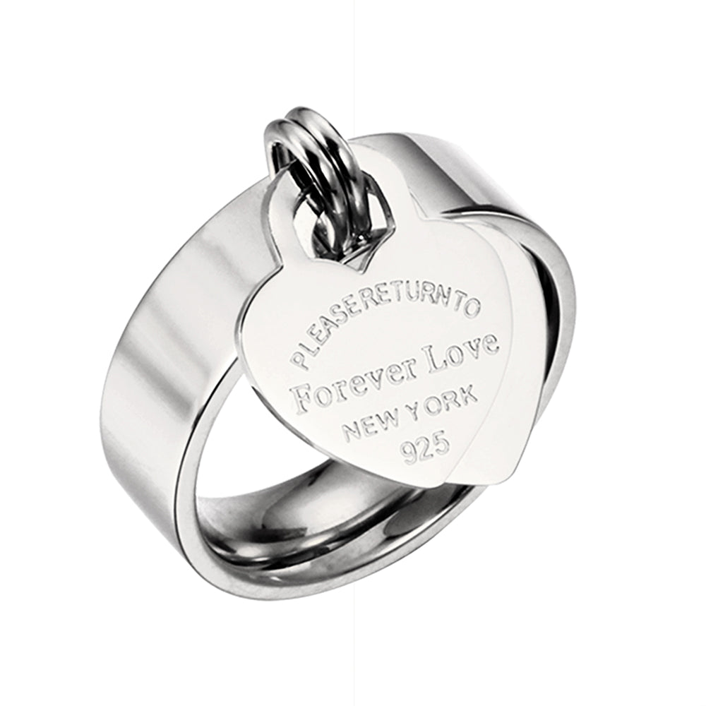 Forever Love Tiffany® Style Heart Dangle Ring -  Available in 3 Colors