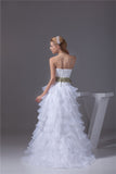 Frilly Hi Lo Strapless Wedding Dress