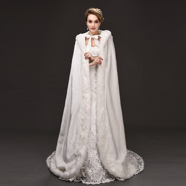 Full Length Satin Lined Hooded Fur Bridal Cape