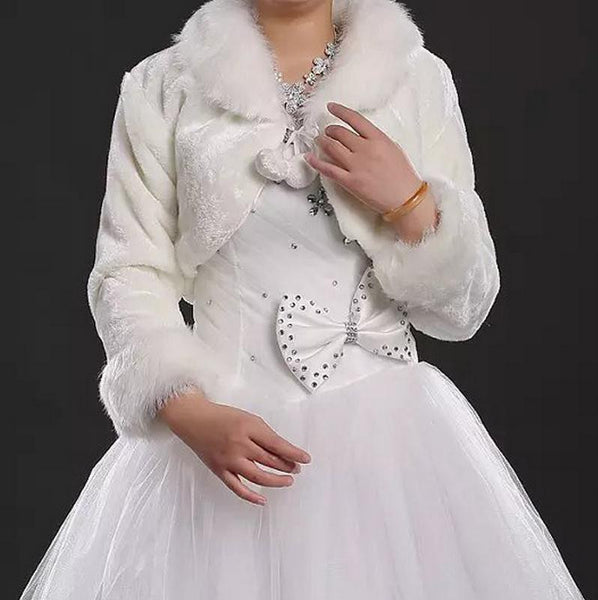 Faux Fur Long Sleeve Trimmed Bridal Bolero