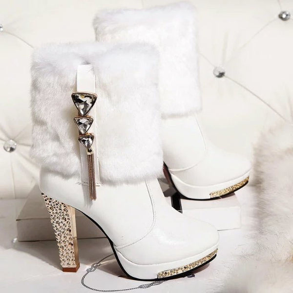 Fur & Crystal Mid Calf Wedding Boots