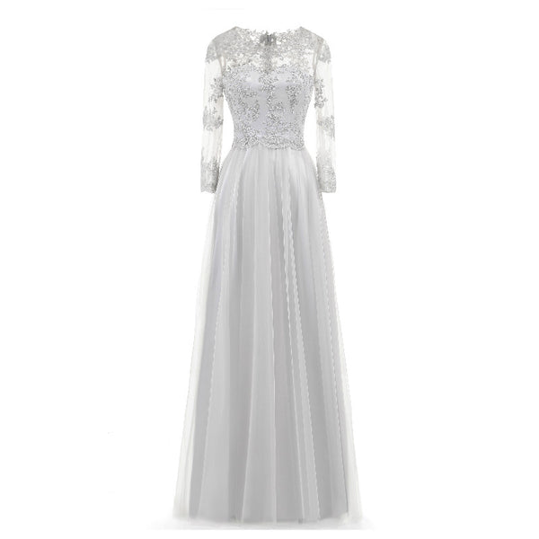 The Gertie – Long Sleeve Lace & Chiffon Style Gown