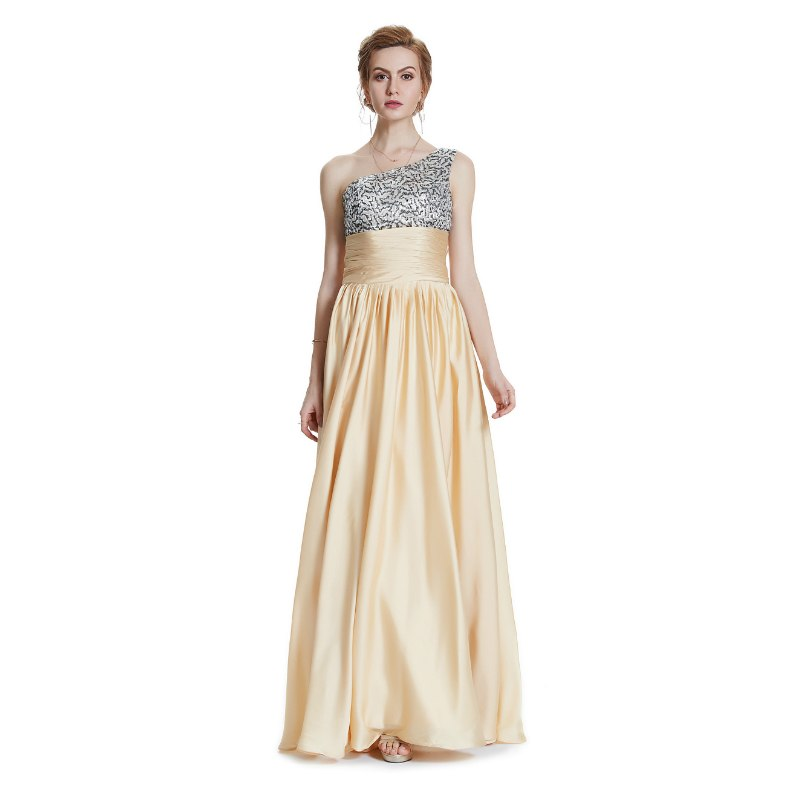 The Gloria One Shoulder Ruched Waist Pale Gold Evening Gown