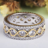 CZ Silver Bridal Band with Gold Plated Wave Design
