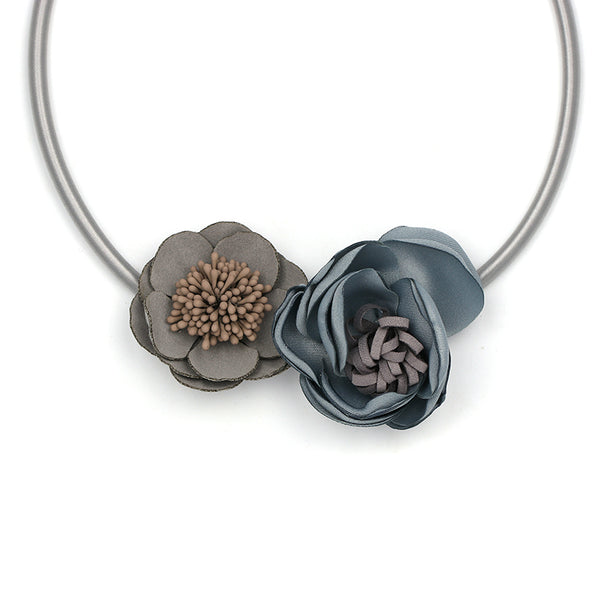 Handmade Boho Two Tone GRay Silk Peony Floral Necklace