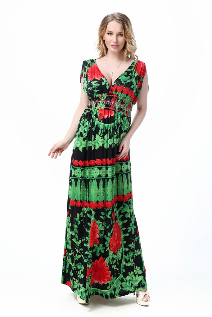 Boho Chic Summer V-Neck Green Feather Maxi Dress  – Plus Size up to 20W