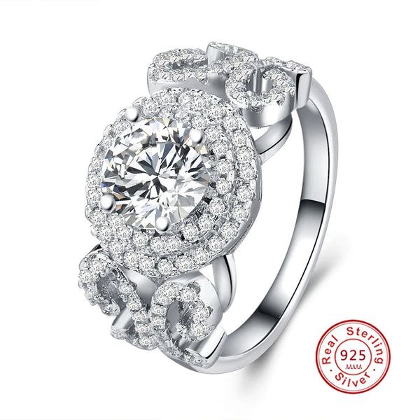 Luxury Wide Band CZ Engagement Ring