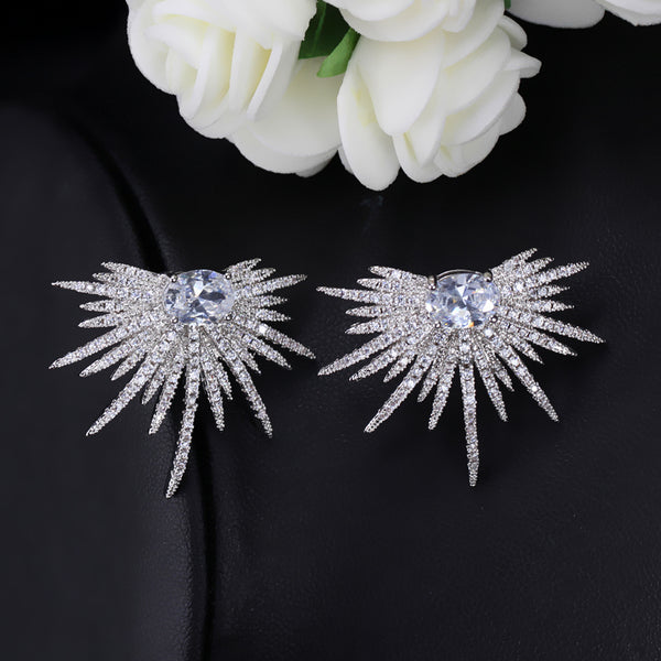 Half Starburst Silver & Cubic Zirconia Bridal Earrings