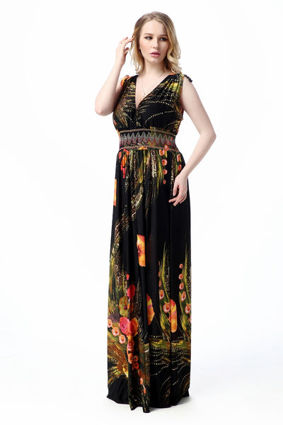 Boho Chic Summer V-Neck Maxi Beach Dress – Plus Size up to 20W