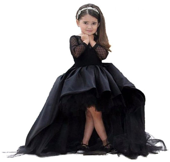 Little Girls High-Lo Black Flower Girl Dress