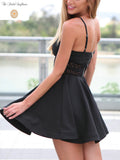 Spaghetti Strap Hollow Out Waist Skater Dress