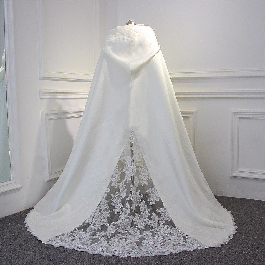 Hooded Lace Panel & Trim Full Length Hooded Wedding Cape