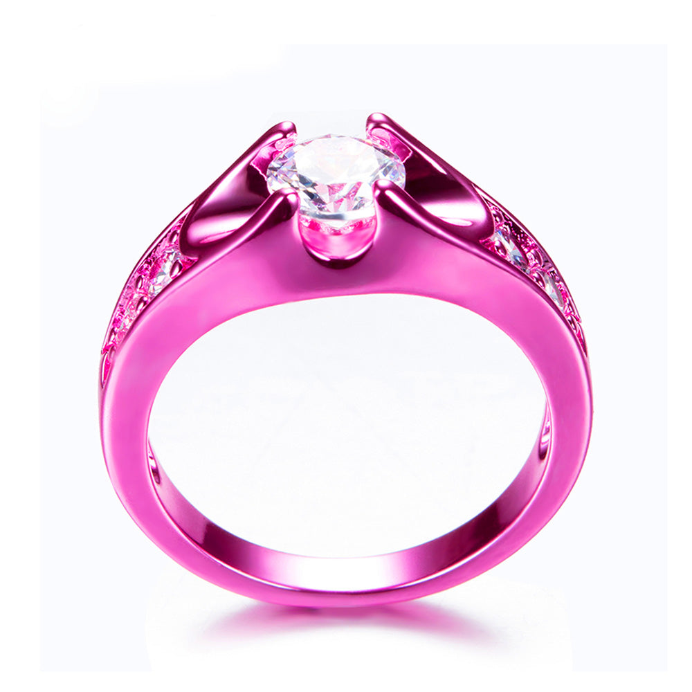 Hot Pink Gold With Solitaire Cubic Zirconia