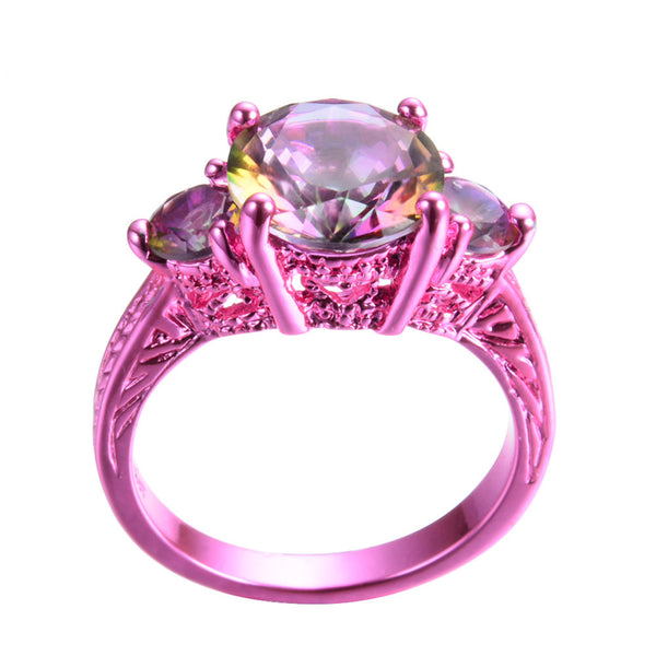 Hot Pink Gold With Solitaire Rainbow Cubic Zirconia