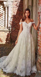 Ileena - Off Shoulder Lace A-Line Wedding Dress sweetheart neckline and illusion plunge.
