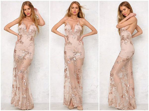 Sexy Sequined Deep-V  Illusion Gown
